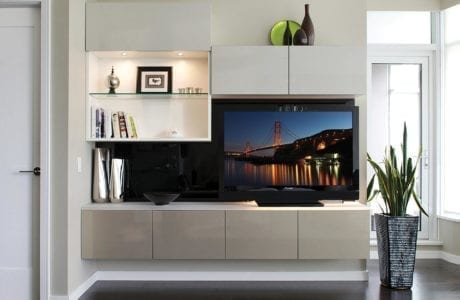 White Entertainment Center with Shelving Cabinets Built in Lighting and High Gloss Grey Accents