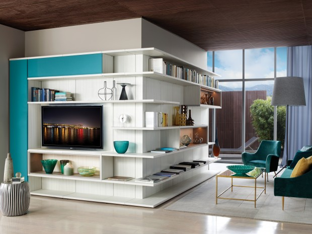 Light Grey and White Corner Media Center With Shelving Display Shelves and Turquoise Fronted Cabinets