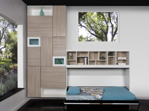 White Shelving With Display Cubbies Wood Grain Backing and Cabinet Doors and Built in Murphy Bed