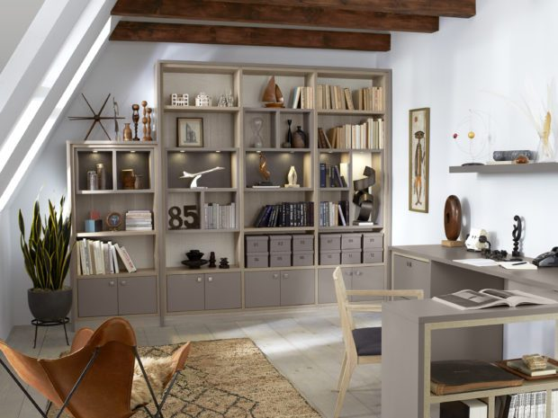 California Closets Grey Office with Tan Accents Comes With Cabinets Shelving and Built inDesk