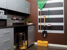 Light Grey Garage Storage With Cabinets Drawers Tools and Hanging Racks