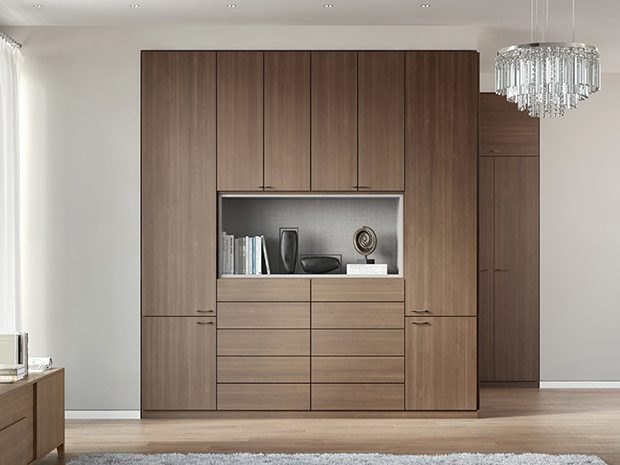 Dark Brown Wood Grain Built in Wardrobe With Cabinets Drawers and Display Shelves