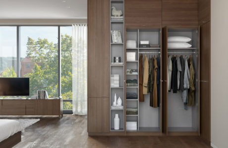 Dark Brown Wood Grain Built in Wardrobe With Open Closet Doors Cabinets Drawers and Display Shelves