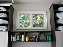 The Kapala Family Client Story Dark Brown Finish Open Shelving with Light Brown Adriatic Mist Accents
