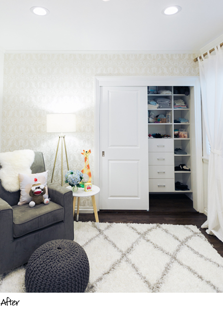Client Story The Style Editrix Nursery White Closet Redesign with Organized Clothing Storage