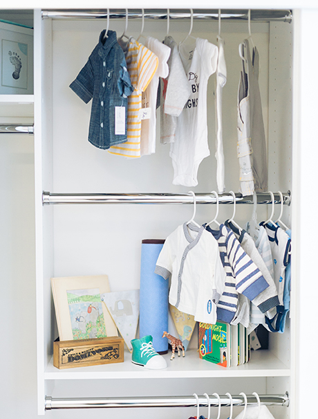 Clienty Story The Style Editrix Nursery Reach In Closet with Polished Metal Clothing Hanger Racks