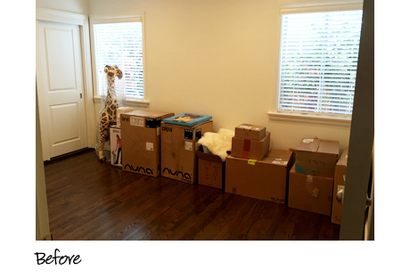 Client Story The Style Editrix Nursery Before the Transformation with Cluttered Boxes and no Storage Solutions