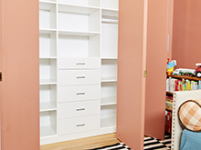 Sophie Donelson Client Story White Finished Closet with Polished Metal Hardware