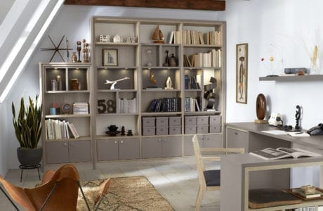 California Closets office design with beige bookshelf