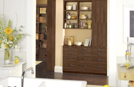 California Closets dining bistro brown drawers