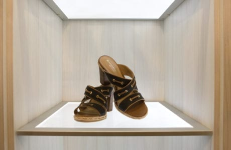 California Closets box glass lighted shelving for shoes