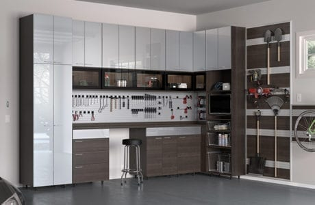 Dark Brown Wood Grain Garage Storage with Cabinets Shelving Tool and Hanging Racks Work Space and Grey High Gloss Cabinet Doors