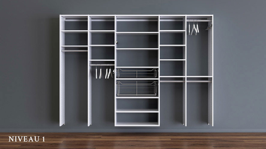 Design to your Budget Basic. Minimalist shelving unit featuring multiple compartments with pull out wire baskets and hanging rods.