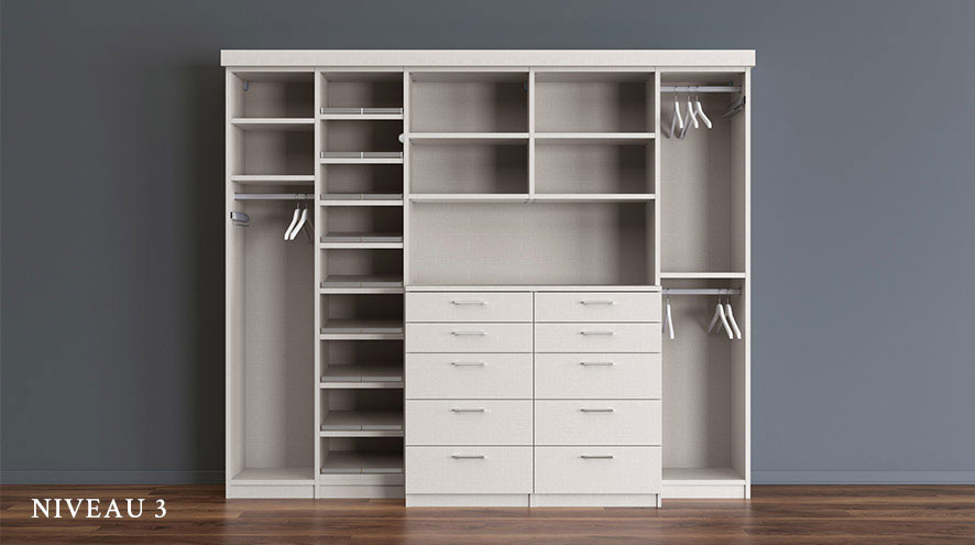 White Stand Alone Reach In Closet with Shelving Dresser Drawers and Closet Rods