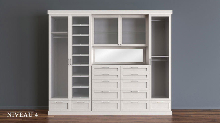 White Stand Alone Reach in Closet with White Shelving Drawers Closet Rods and Cabinets with Glass Doors
