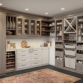 Wood Grain Grey Pantry Storage with Shelves Drawers Built in Baskets Wine Rack and Fridge Glass Fronted Cabinets and White Work Space