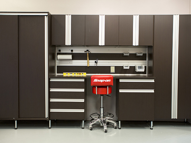 California Closets Birmingham: Corcoran Garage Storage System with Built in Cabinets