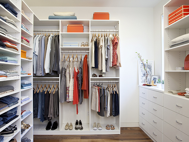 California Closets Ft. Myers-Naples- Custom Walk-In Closet with Open Shelving