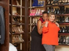 California Closets client Danielle S. and her designer smiling in her newly renovated closet