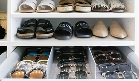 Shoes shelves and organized sunglasses in client Kimberly Lapides' new closet