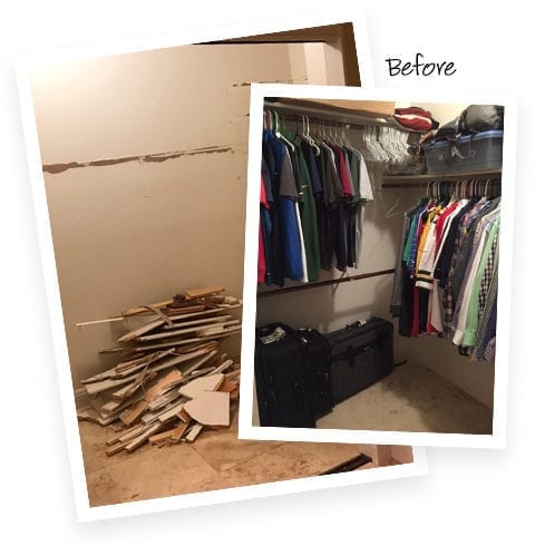 California Closets client Jenny Lee's old closet before image