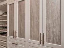 Cabinet door fronts with good handles in the new closet for client Jenny Lee