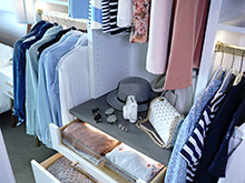 California Closets Client Story Becky Kung Velvet Vino Closet Open Drawer and Open Shelf