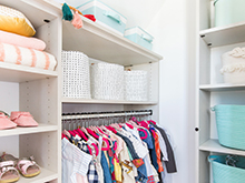 California Closets Emily Henderson Client Story Shelves baskets clothing rack