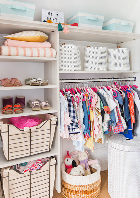 California Closets Emily Henderson girls clothing and shelves
