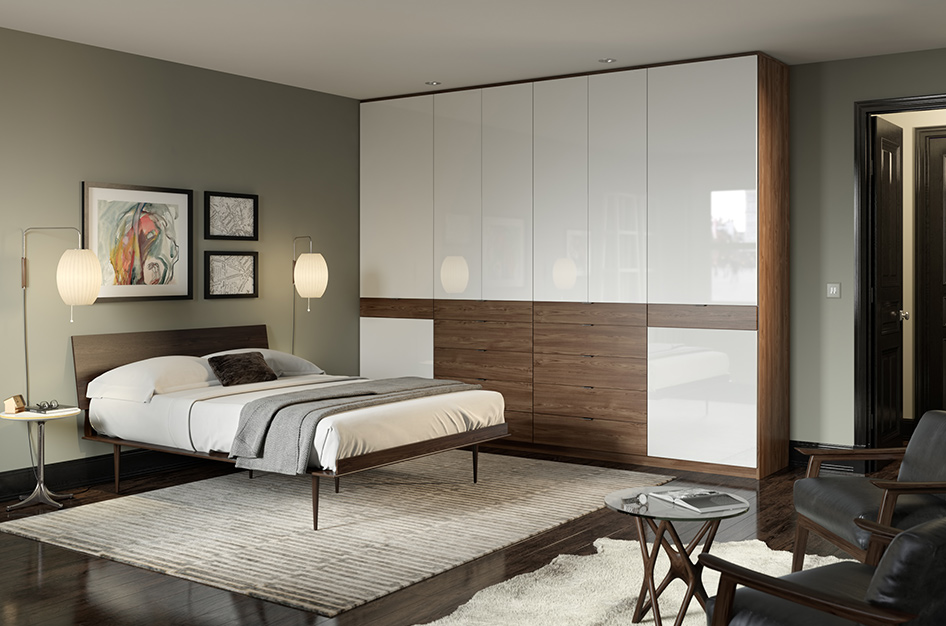 Ward Hotel modern wardrobe with dark wood drawers and reflective white cabinets California Closets