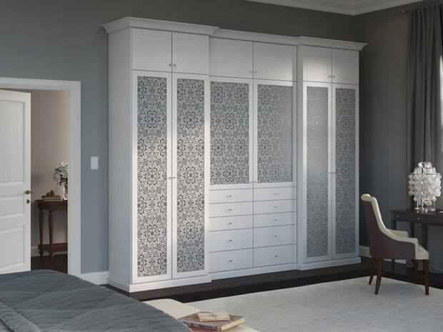 Stylish interior wardrobe with floral pattern.