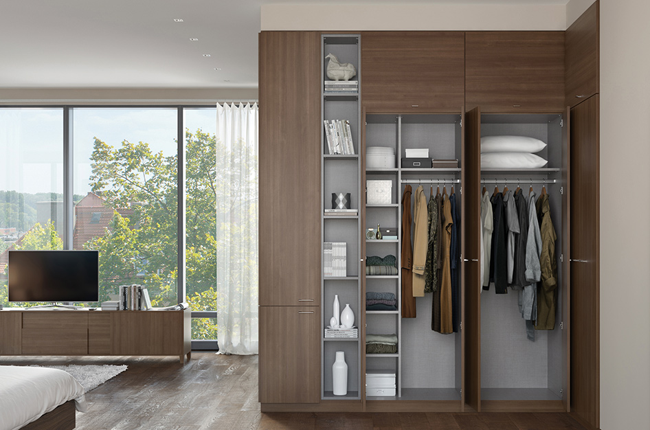 Bedroom cabinetry with ample shelving for magazines, towels, pillows and more.