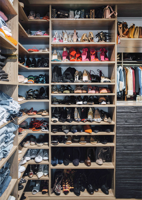 Aimee Song Client Story Walk in Closet with Large Shoe Storage
