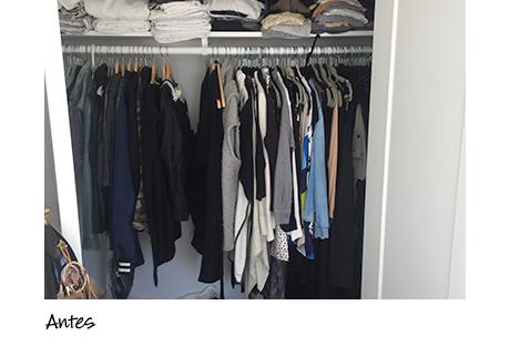California Closets client Erin Swift's unorganized closet before installation