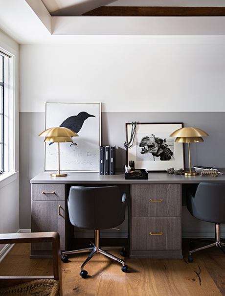 Client Stories Jeremiah Brent After the Transformation Dark Brown Desk with Gold Hardware