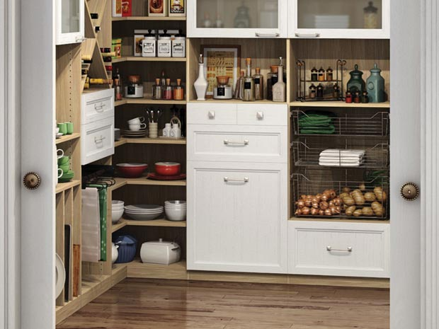 California Closets Greater Phoenix: Custom Pantry Storage Solution with Shelves, Drawers and Pullout Racks