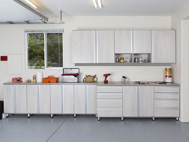 Light Grey Garage Storage with Cubbies Cabinets and Work Space
