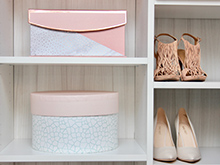 Client Stories Kari Skelton California Closets Organized Shoe and Purse Storage in Light White Finish