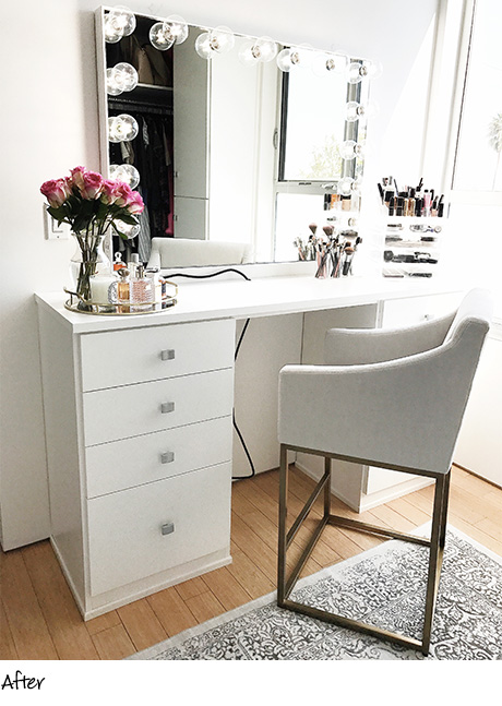 California Closets White Vanity drawers with box silver handles