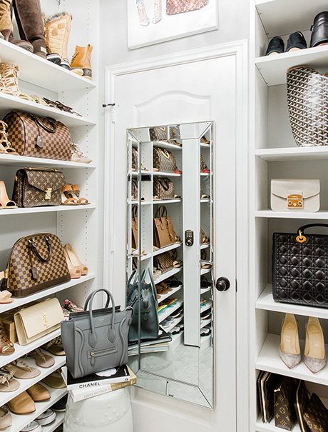 Amanda Client Story Closet in Classic White Finish with Purse and Shoe Shelving