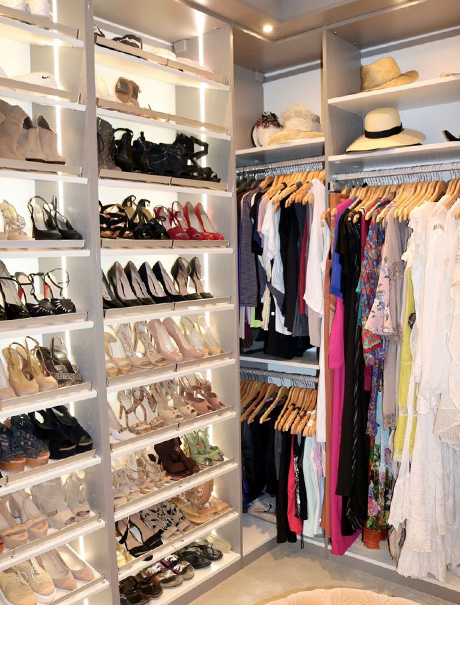 Client Story Perfect Closet with Shoe and Clothing Organization with Accent Lighting