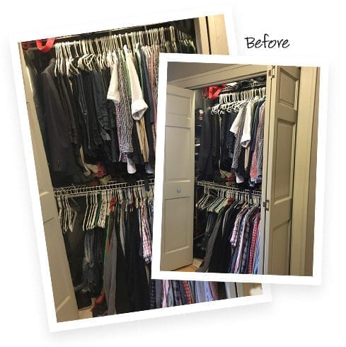 Jamie Brad Client Story Before the Transformation Cluttered Closet Space