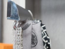 Gurjeet Client Story Close up of Diamond Necklace on Jewelry Hanger by California Closets