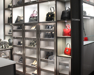 Detailed Shot of Lighted Shoe and Purse Storage Cabinet