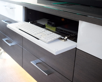 Top 10 designs details of folding keyboard storage with white and dark brown finishes