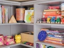 Erin Feher Client Story Dark Gray Shelving with Children's Books and Toy Storage