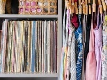 Erin Feher Client Story Close up of Vinyl Record Storage and Clothing Hanger System