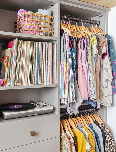 Erin Feher Client Story Closet Storage Solution for Books Vinyl and Clothing