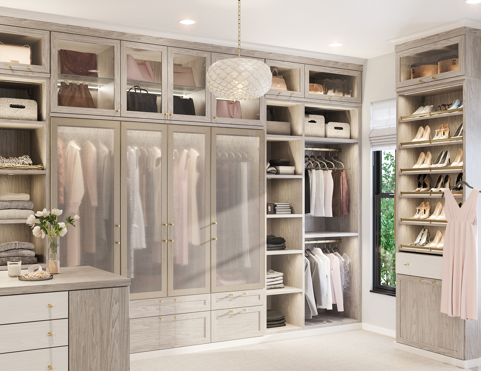 Light walk in closet with pull out rack closet accessories by california closets