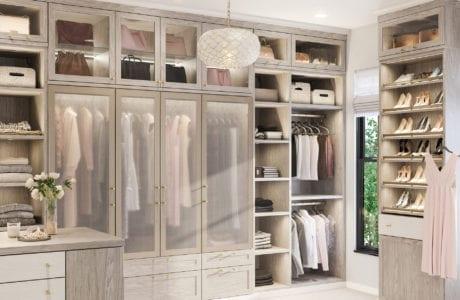 California Closets Brooks Master walk-in closet in Albero Grigio finish